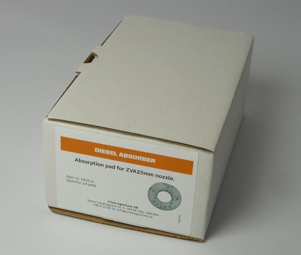 Förpackning med 54 st absorbtionsfilter som passar både DA25 och DA40